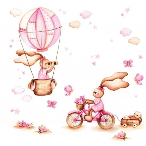 VINILO INFANTIL: Conejitas con bici y globo [2]