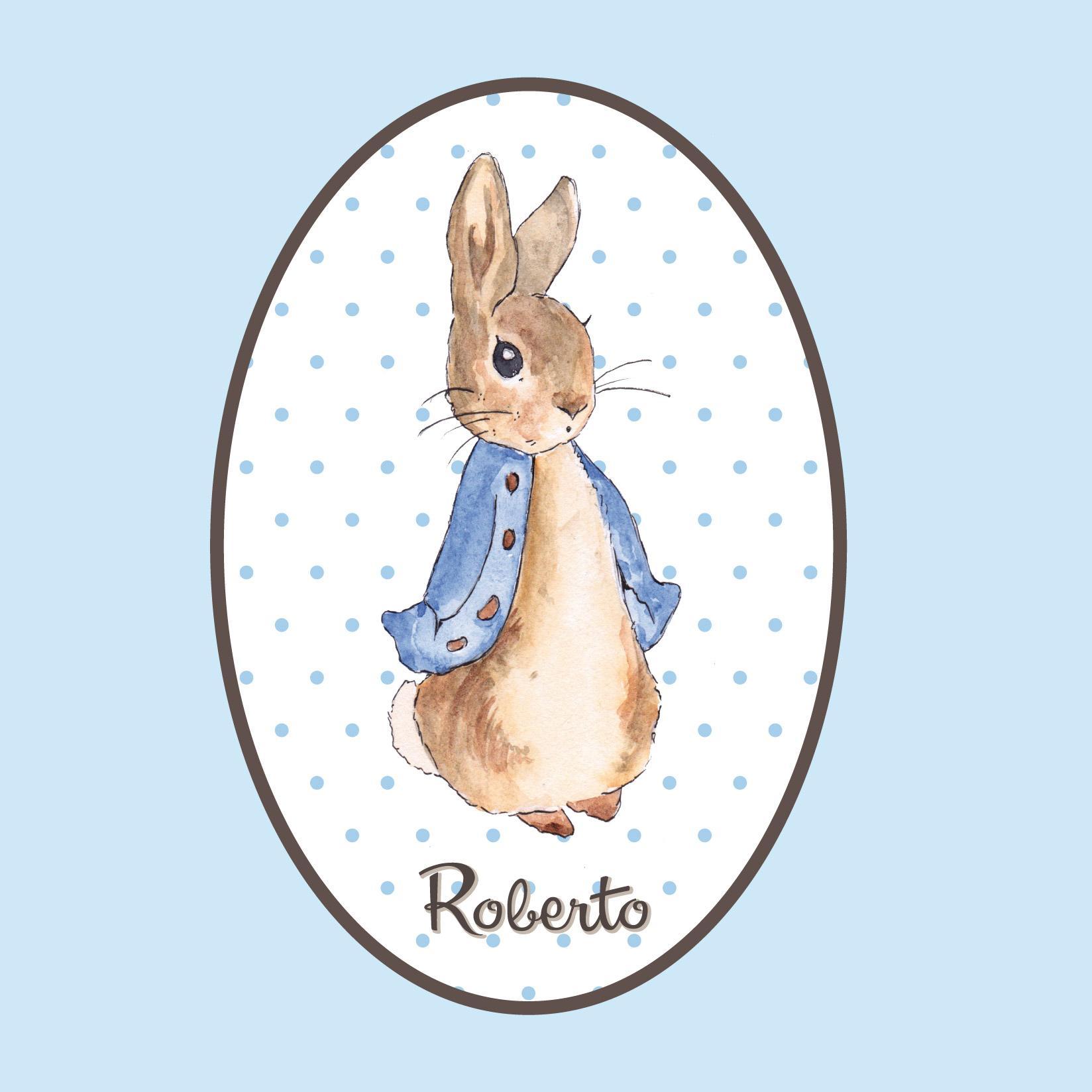 VINILO INFANTIL: Vinilo ovalado conejo con nombre
