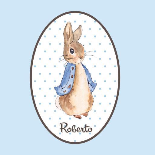 VINILO INFANTIL: Vinilo ovalado conejo con nombre [0]