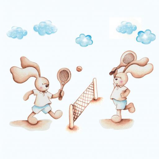 VINILO INFANTIL: Conejitos jugando al tenis [1]