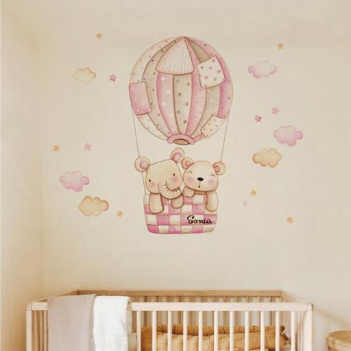 VINILO INFANTIL: Elefante y Osito en globo [1]