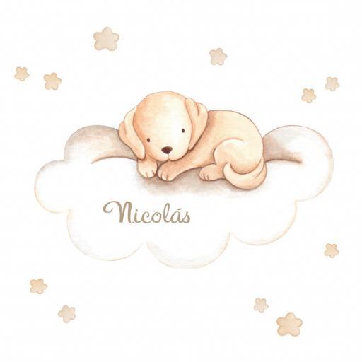 VINILO INFANTIL: Perrito marrón en nube [1]