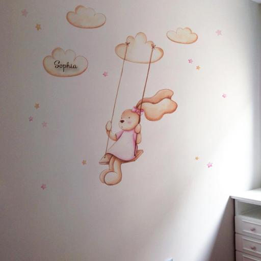 VINILO INFANTIL: Conejita en columpio [1]