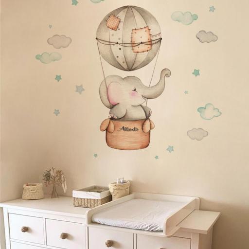 VINILO INFANTIL: Elefante en globo para niño [1]