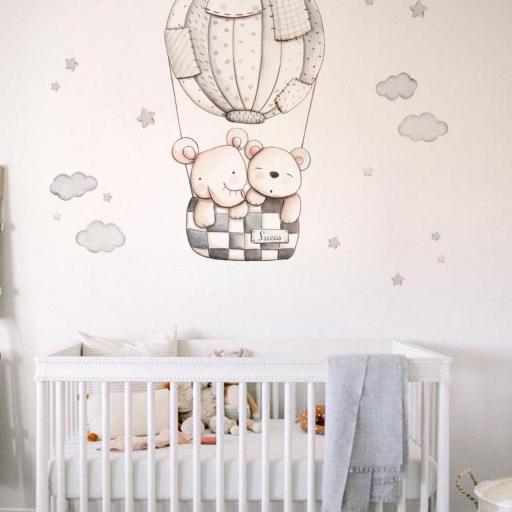 VINILO INFANTIL: Elefante y Osito en globo gris [2]
