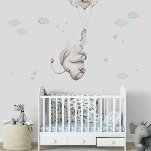 VINILO INFANTIL: Elefante con globos grises [2]