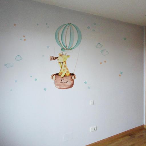 VINILO INFANTIL: Girafa en globo [1]