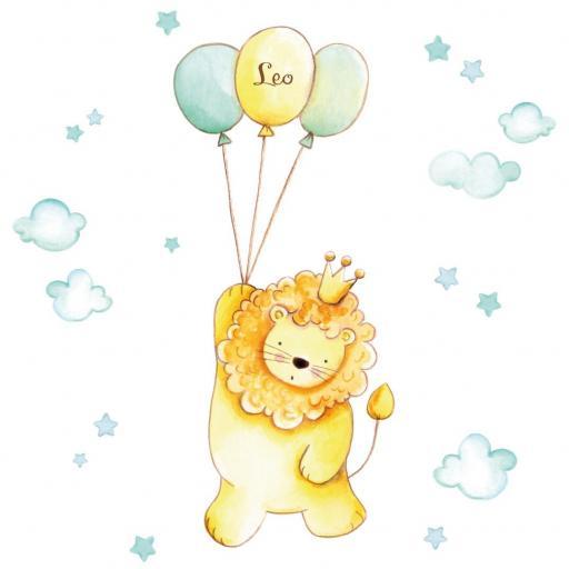VINILO INFANTIL: León con globos mint [1]