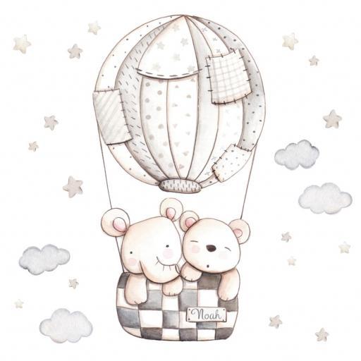 VINILO INFANTIL: Elefante y Osito en globo gris [1]