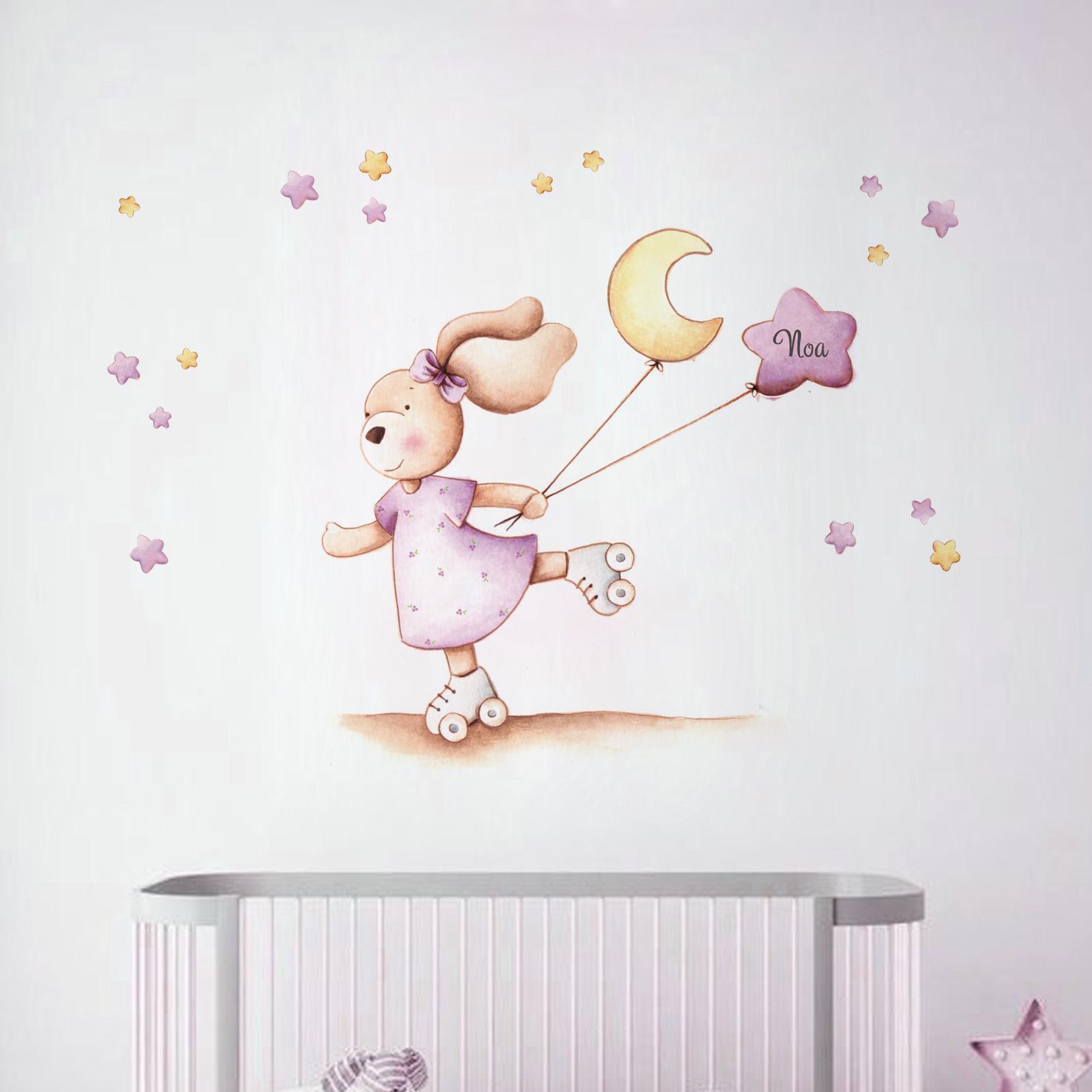 VINILO INFANTIL: Conejita con patines