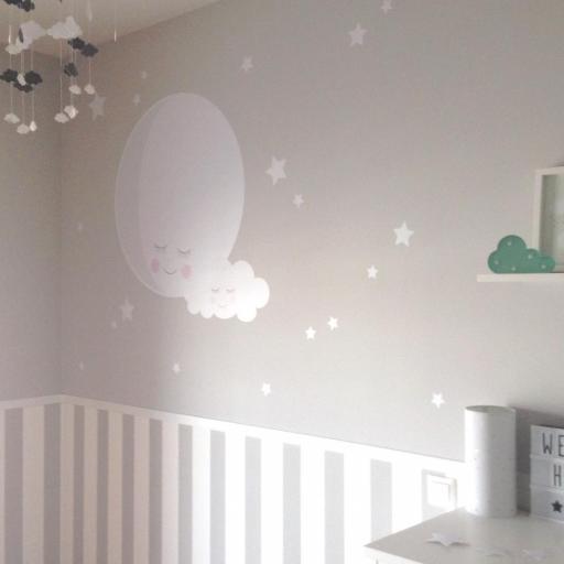 VINILO INFANTIL: Luna con nube y estrellitas [3]