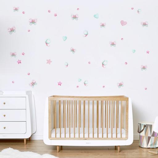 VINILO INFANTIL: mariposas rosa y mint [1]