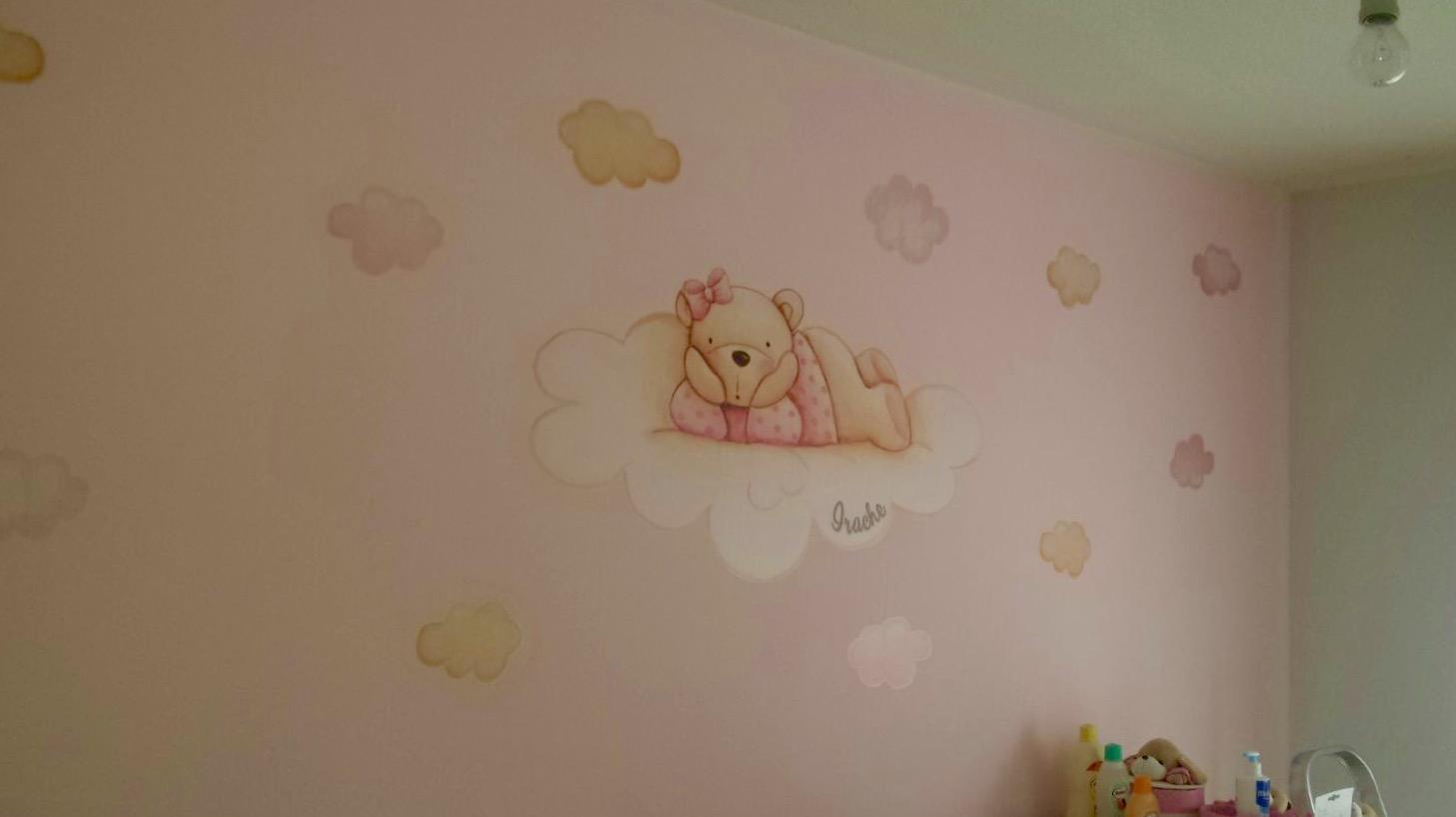 VINILO INFANTIL: Osita en nube y estrellas