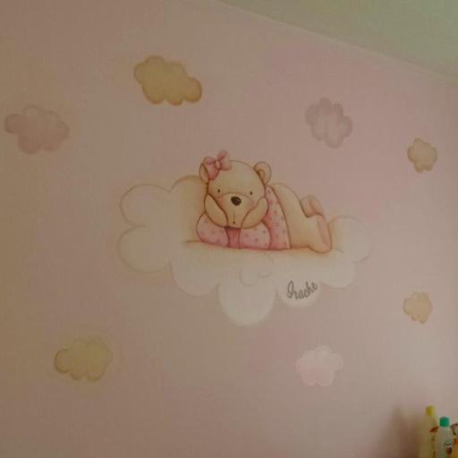 VINILO INFANTIL: Osita en nube y estrellas [0]