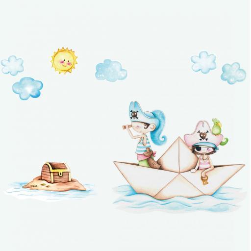 VINILO INFANTIL: Barco pirata hermanos [1]