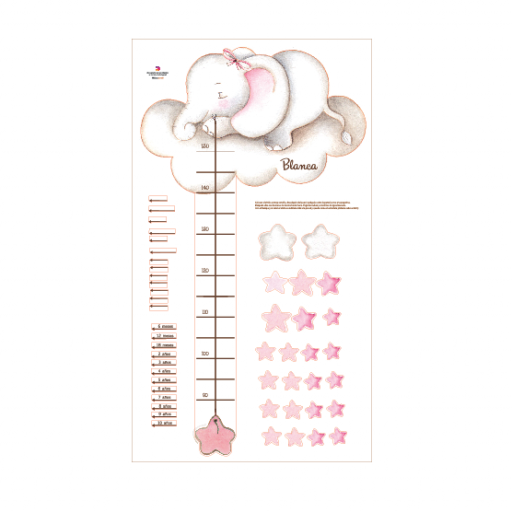 VINILO INFANTIL: Medidor elefante con lazo y estrellas rosas [2]