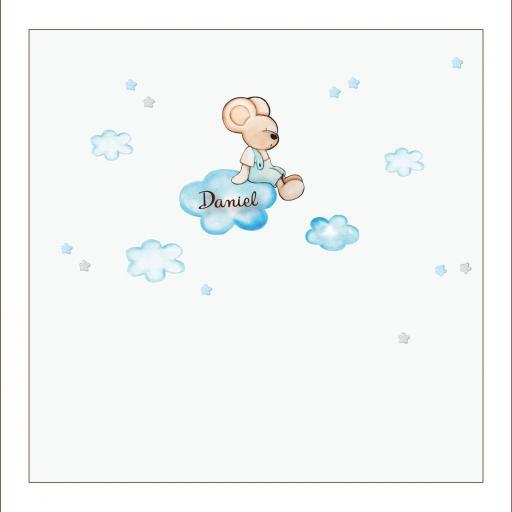 VINILO INFANTIL: Ratoncito sentado en nube [2]