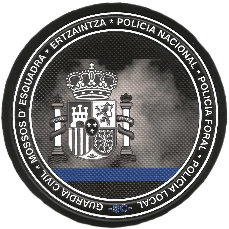 POLICIA NACIONAL LOCAL MUNICIPAL FORAL MOSSOS ERTZAINTZA GUARDIA CIVIL DELGADA BANDA AZUL PARCHE INSIGNIA