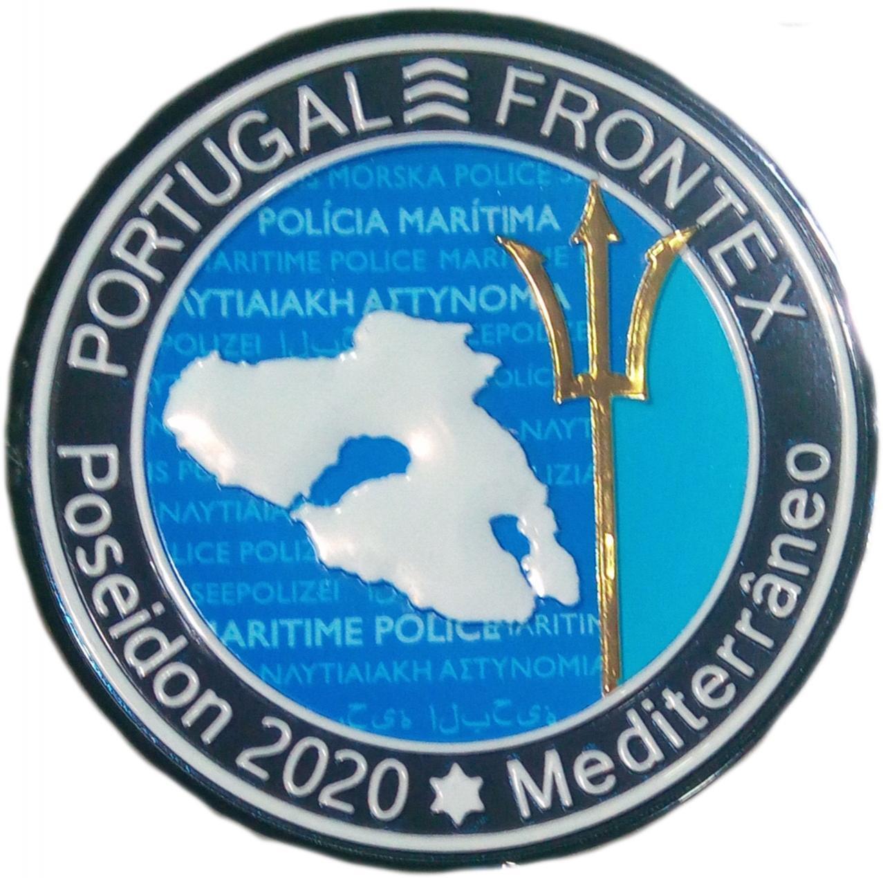 POLICÍA DE EUROPA EUROPOL FRONTEX MISIÓN POSEIDÓN 2020 MEDITERRANEO PORTUGAL PARCHE INSIGNIA EMBLEMA DISTINTIVO