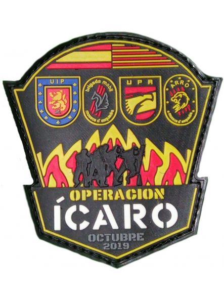 OPERACIÓN ICARO POLICÍA NACIONAL CNP UIP UPR MOSSOS ARRO BRIGADA MOBIL PARCHE INSIGNIA EMBLEMA DISTINTIVO