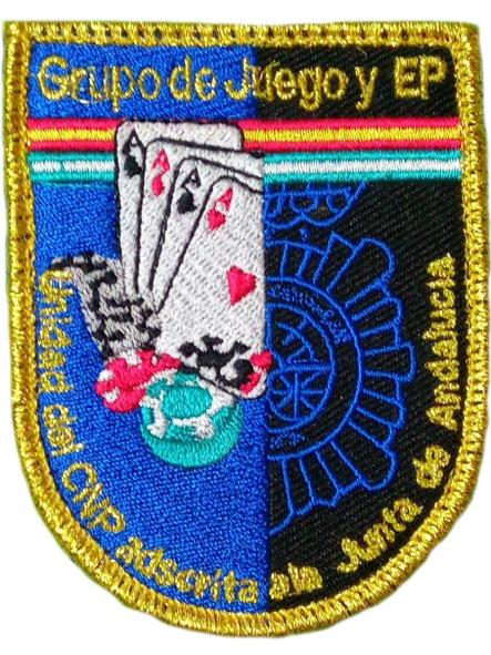 POLICÍA NACIONAL CNP UNIDAD ADSCRITA A LA JUNTA DE ANDALUCÍA JUEGOS Y ESPECTÁCULOS PÚBLICOS PARCHE INSIGNIA EMBLEMA DISTINTIVO