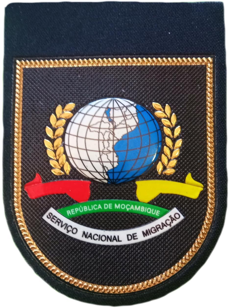 POLICÍA NACIONAL DE MOZAMBIQUE SERVICIO NACIONAL DE MIGRACIÓN EXTRANJEROS PARCHE INSIGNIA EMBLEMA