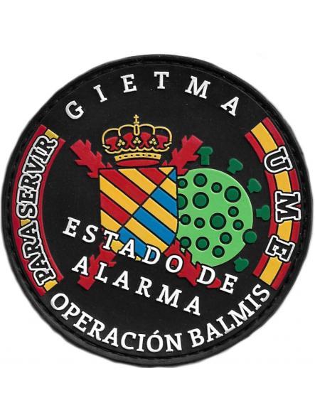 EJERCITO UME GIETMA COVID-19 ESTADO DE ALARMA OPERACIÓN BALMIS - PARCHE INSIGNIA EMBLEMA DISTINTIVO