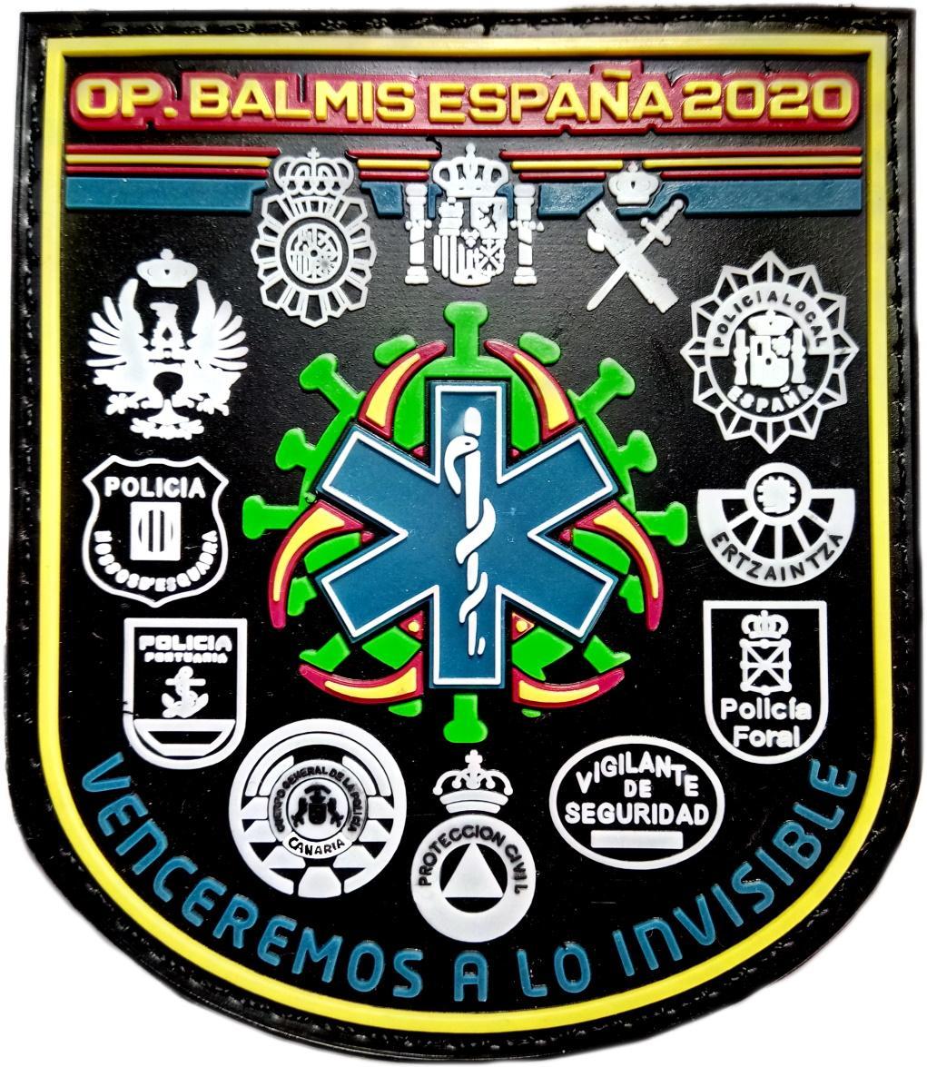 OPERACION BALMIS 2020 POLICIA NACIONAL LOCAL FORAL PORTUARIA GUARDIA CIVIL EJERCITO MOSSOS ERTZAINTZA VIGILANTES SEGURIDAD CNP  - PARCHE INSIGNIA EMBLEMA VENCEREMOS A LO INVISIBLE MEDICOS ENFERMERAS SANIDAD