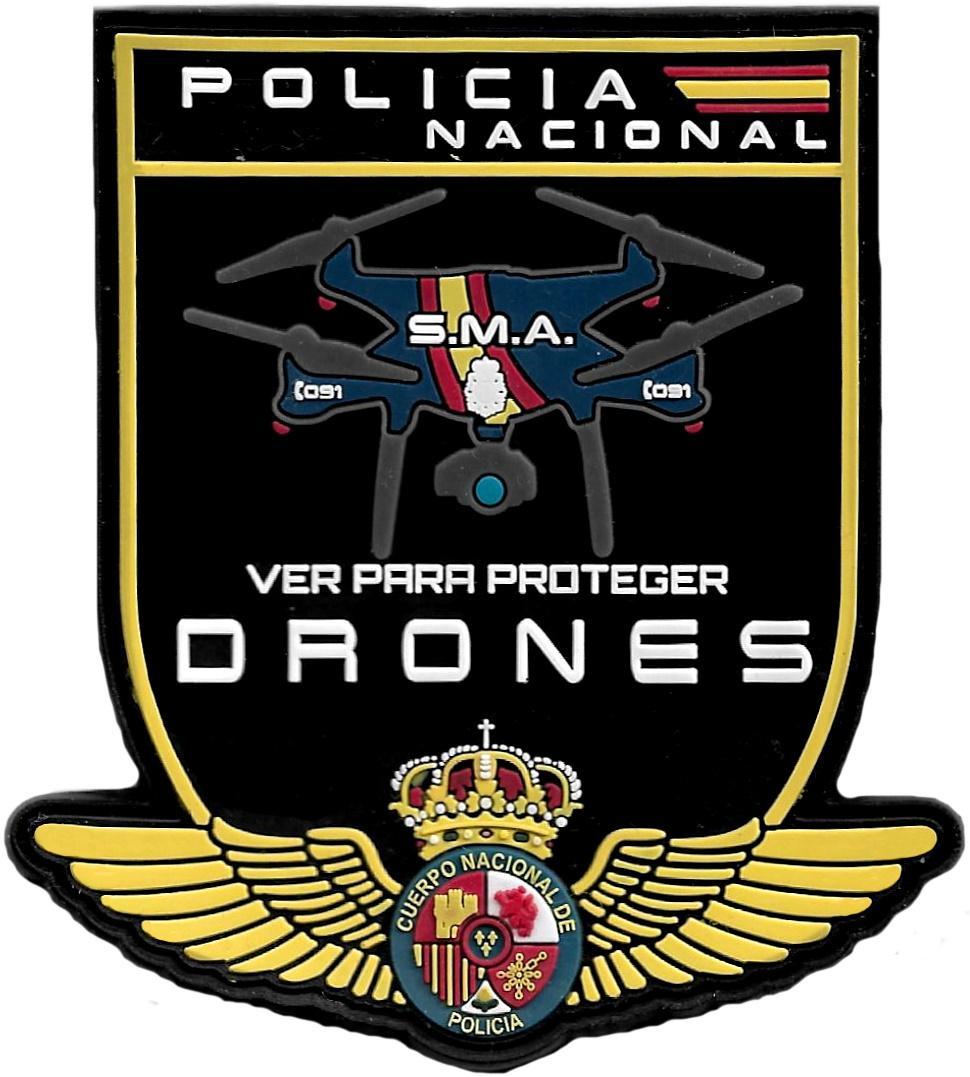 POLICÍA NACIONAL CNP DRONES VER PARA PROTEGER SERVICIO DE MEDIOS AÉREOS PARCHE INSIGNIA EMBLEMA DISTINTIVO
