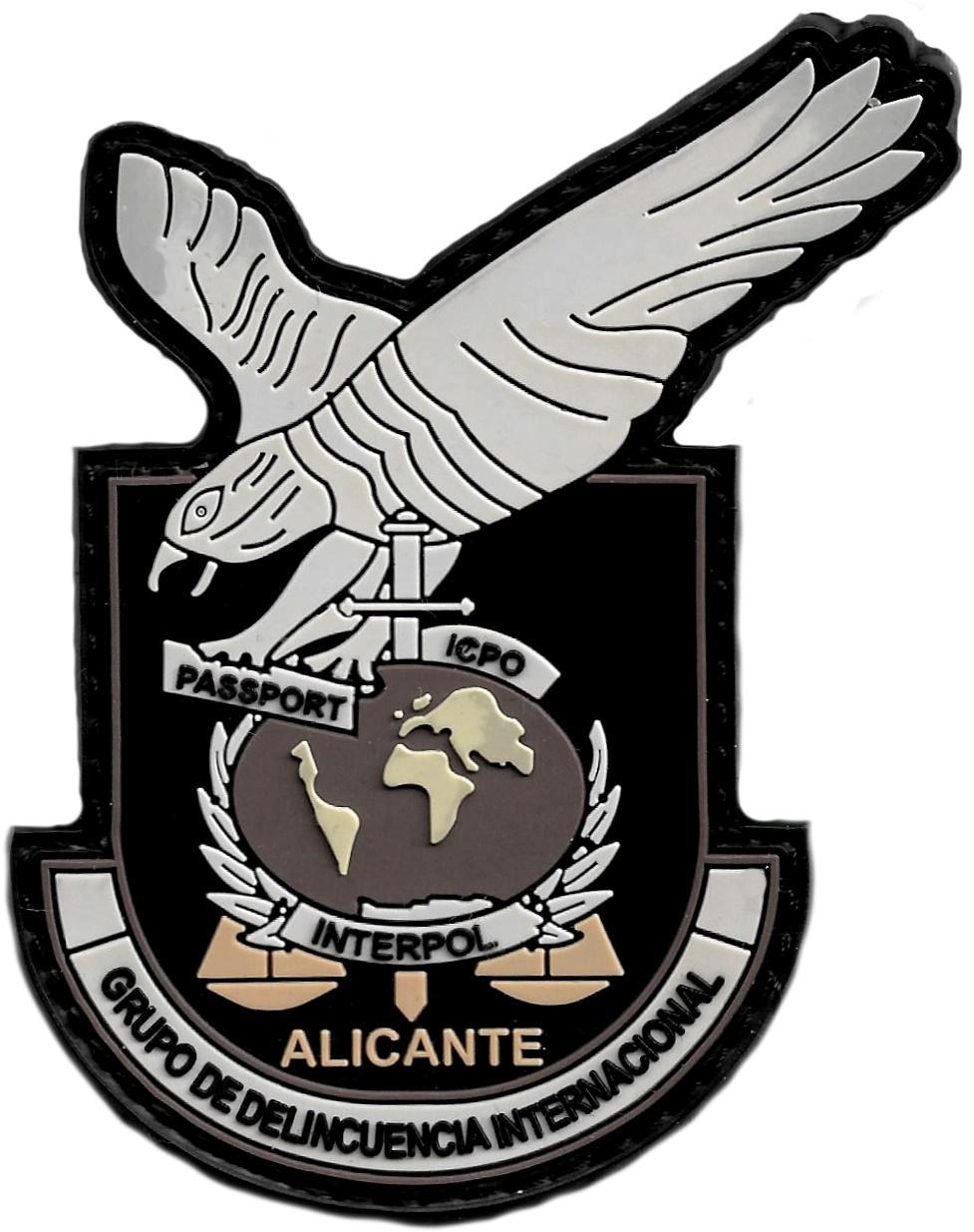 POLICÍA NACIONAL CNP GRUPO DE DELINCUENCIA INTERNACIONAL ALICANTE PARCHE INSIGNIA EMBLEMA DISTINTIVO