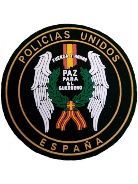 Policías Unidos España Fuerza y Honor paz para el guerrero parche insignia emblema distintivo