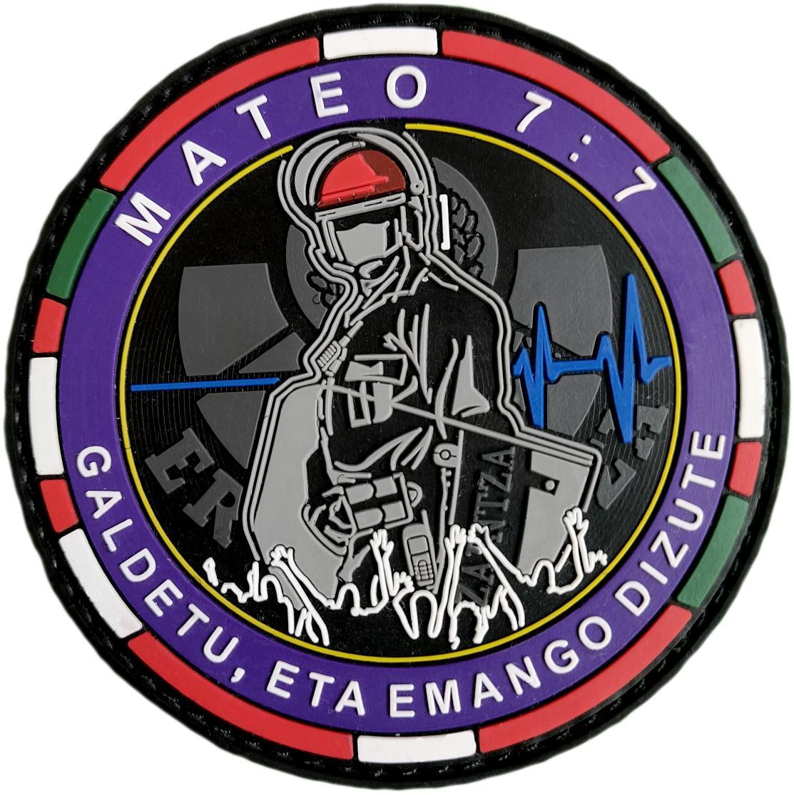 Ertzaintza Euskadi Policía País Vasco Brigada Móvil Mateo 7:7 galdetu eta emango dizute pedid y se os dará parche insignia emblema distintivo