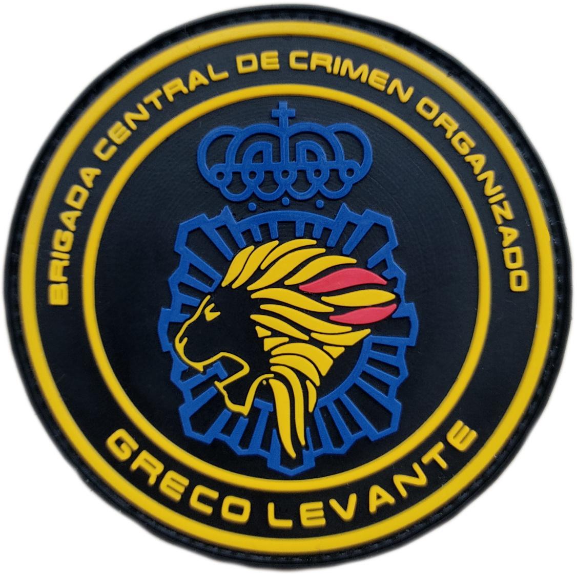 Policía nacional CNP Greco Levante brigada central crimen organizado parche insignia emblema distintivo