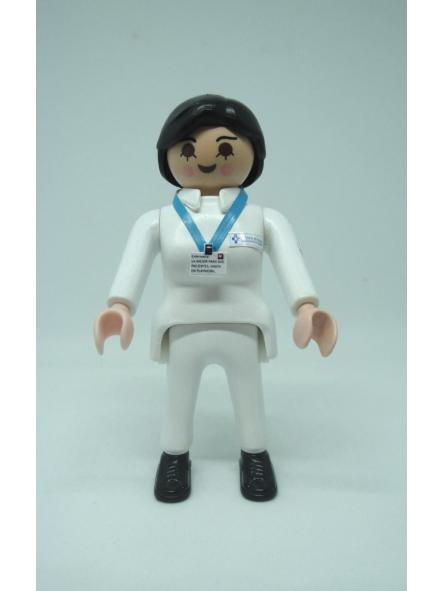 Playmobil personalizado con el uniforme de Enfermera del SESPA Servicio Asturiano de Salud mujer
