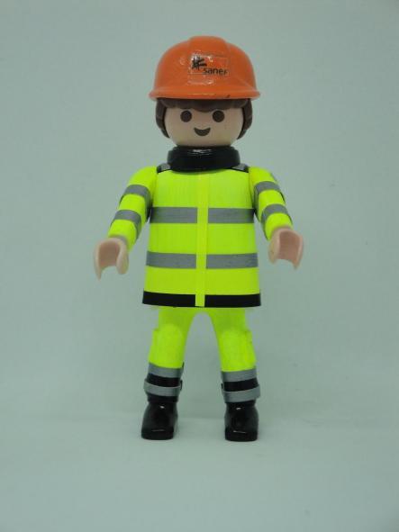 Playmobil personalizado con uniforme de la empresa Sanef autopistas de Francia hombre