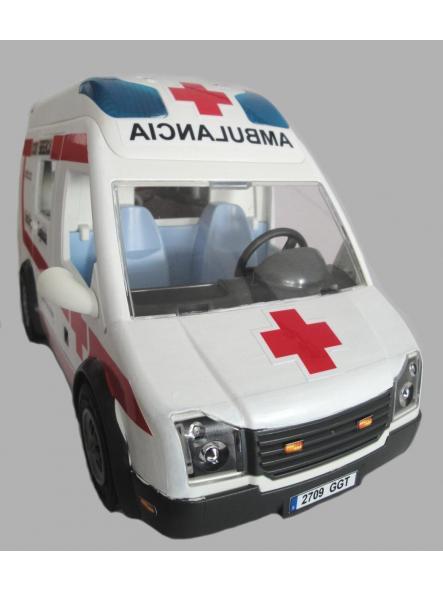 Ambulancia Playmobil personalizada con los distintivos de la Cruz Roja Española - Pídelo con los distintivos de tu población