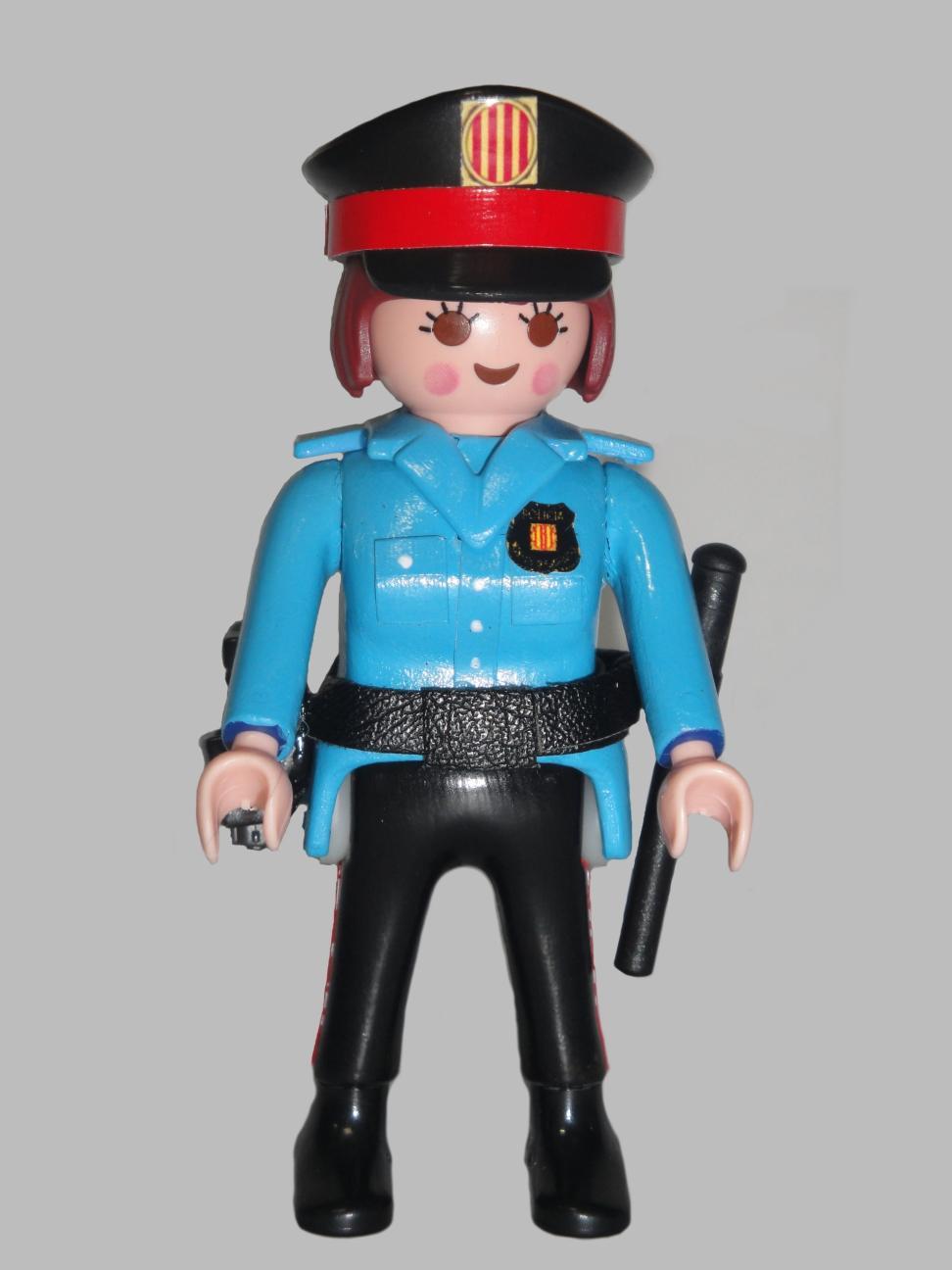 PLAYMOBIL PERSONALIZADO MOSSOS D´ESQUADRA POLICÍA DE CATALUÑA UNIFORME AÑOS 90 MUJER