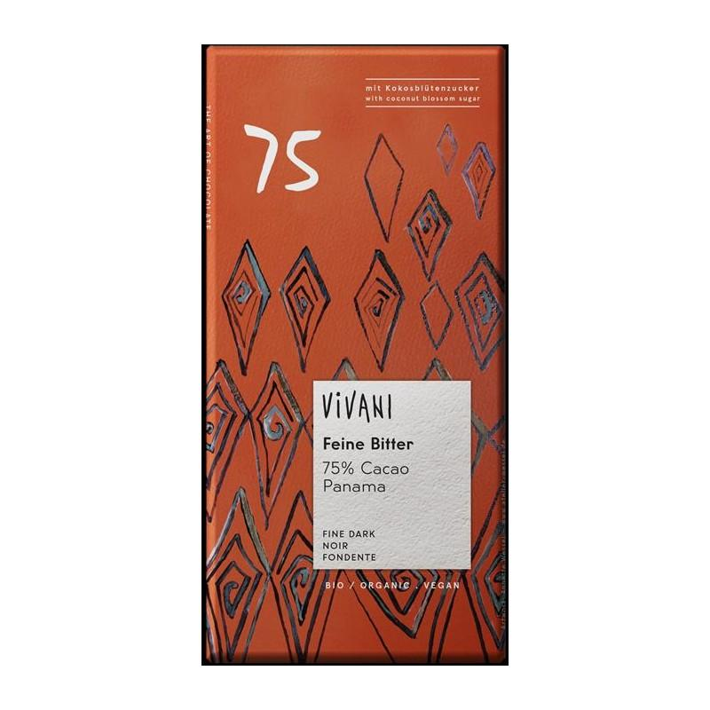 Chocolate 75% Cacao de Panamá Ecológico de Vivani 80g