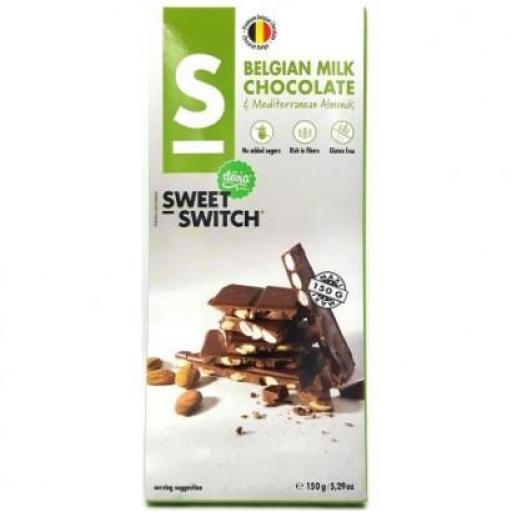 Chocolate con Leche Belga & Almendras Sin Gluten Sweet Switch 150g
