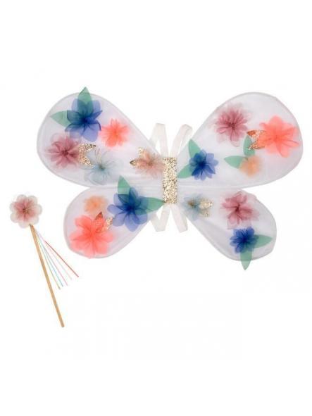 Alas de flor de organza y varita