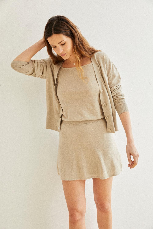 Mini falda de punto Florence piedra