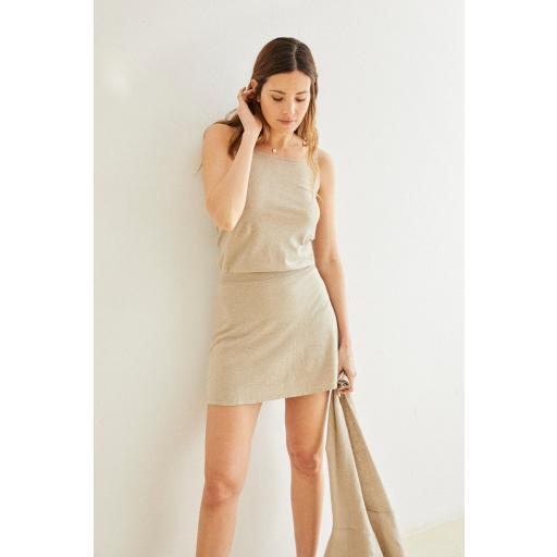 Mini falda de punto Florence piedra [2]