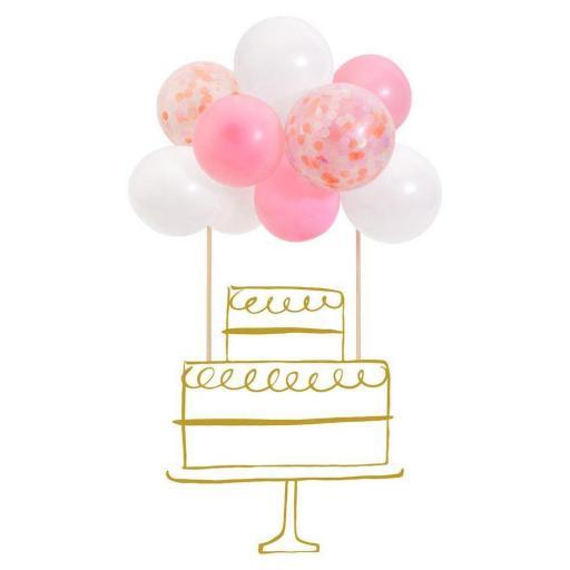 Topper globos rosas con confetti