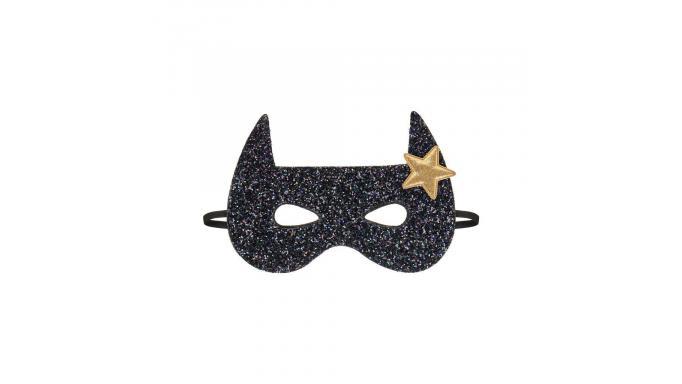 Máscara bat negra glitter