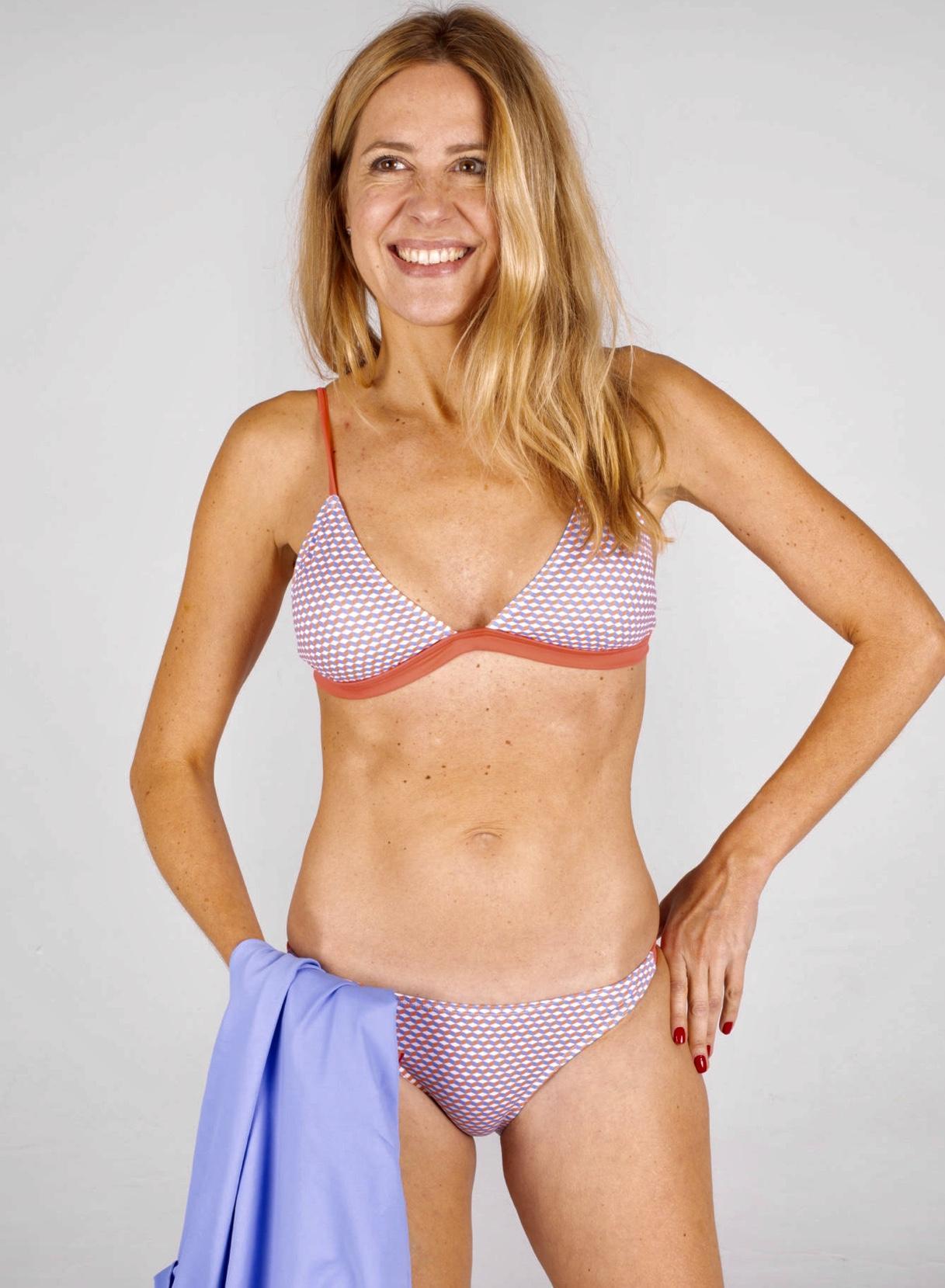 Bikini María 215 Azul-Coral GEOMETRICO