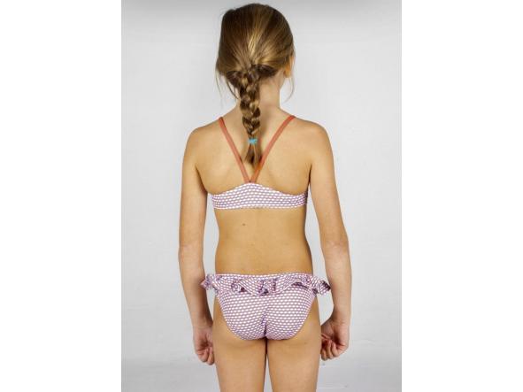 Bikini de niña geométrico azul-coral [2]