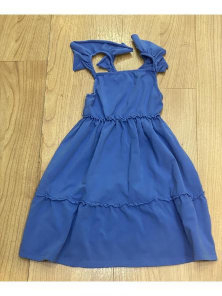 Vestido niña punto azul