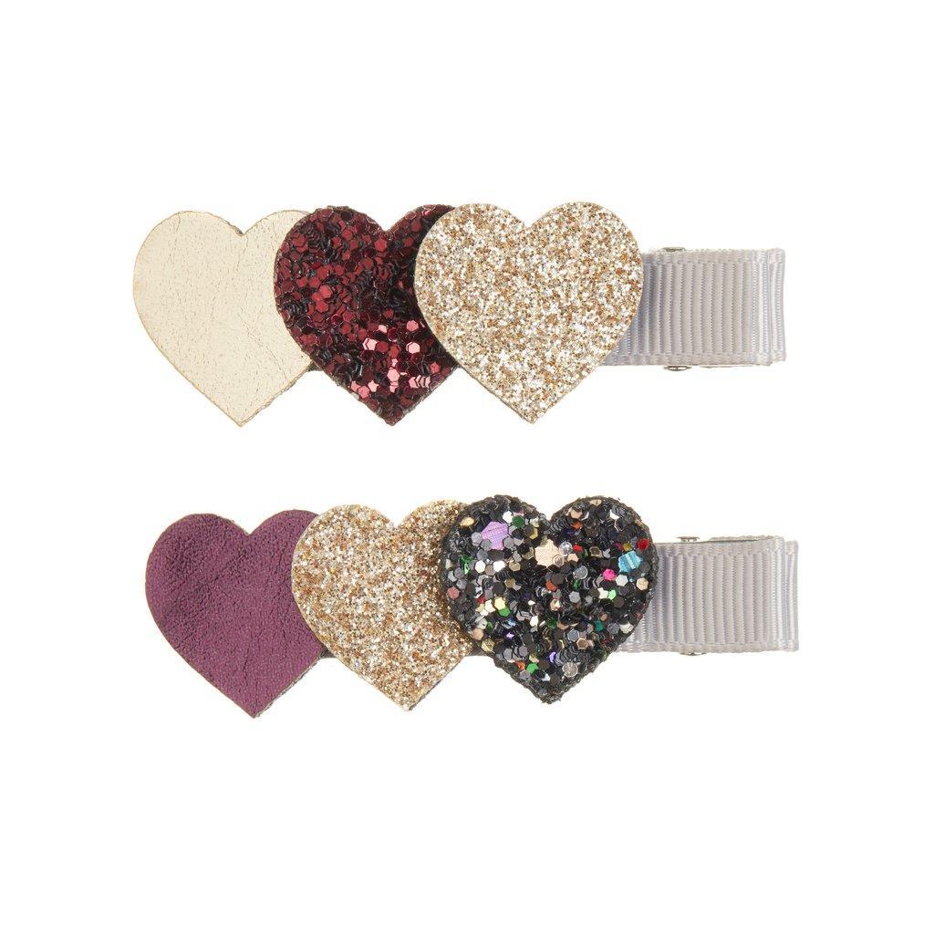 Clips para el pelo corazón glitter