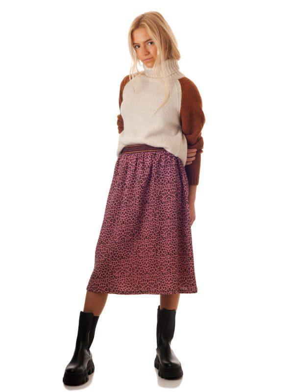 Falda midi leopardo rosa