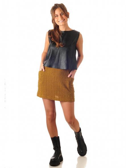 Mini falda zig zag mostaza